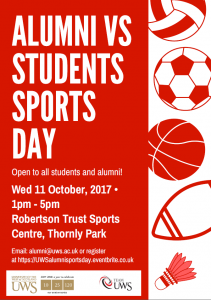 Alumni vs students sport day poster